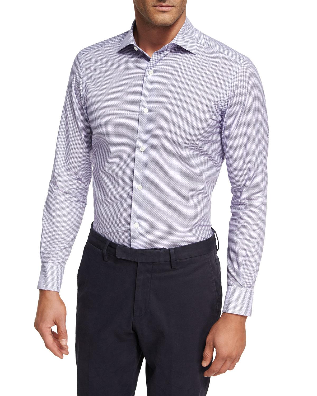 Ermenegildo Zegna geometric print button-down shirt - White Recommend Cheap QcerXt1UZw