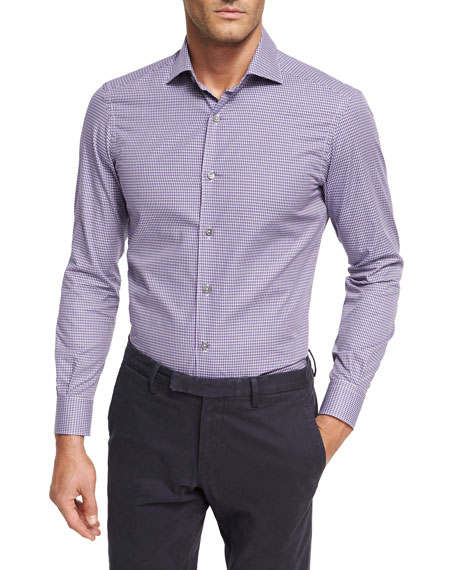 Ermenegildo Zegna Mini-Check Cotton Shirt, Medium Purple