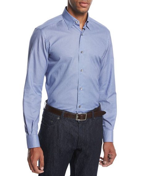 Ermenegildo Zegna Neat Pyramid Cotton Shirt, Bright Blue/Light