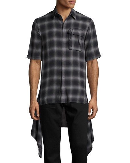 Helmut Lang Zip-Panel Plaid Short-Sleeve Shirt, Black