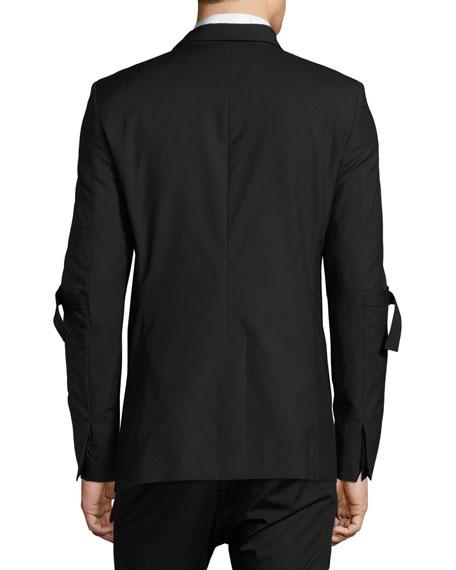 Elbow-Strap Virgin Wool Blazer, Black