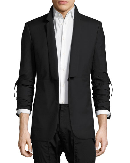 Elbow-Strap Virgin Wool Blazer, Black