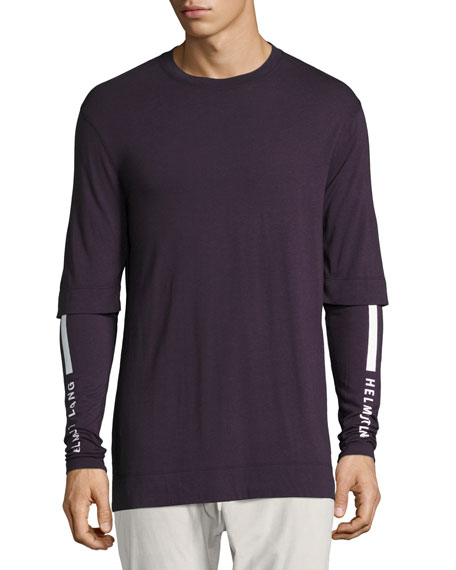 Helmut Lang Double-Sleeve Logo-Print T-Shirt, Fig