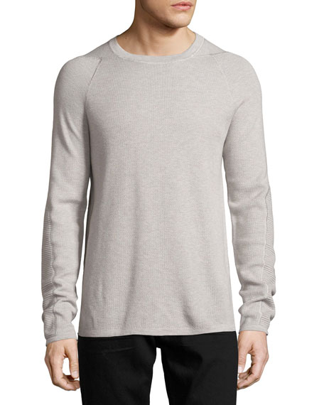 Helmut Lang Mixed-Knit Long-Sleeve Crewneck T-Shirt, Gray