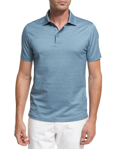 Ermenegildo Zegna Maze Chevron Cotton Polo Shirt, Teal