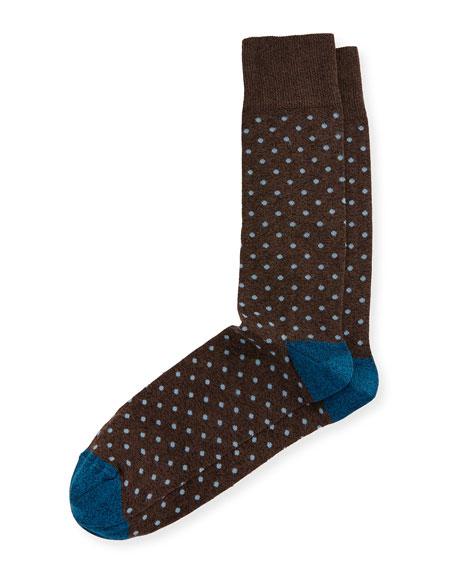 Neiman Marcus Heathered Polka-Dot Socks