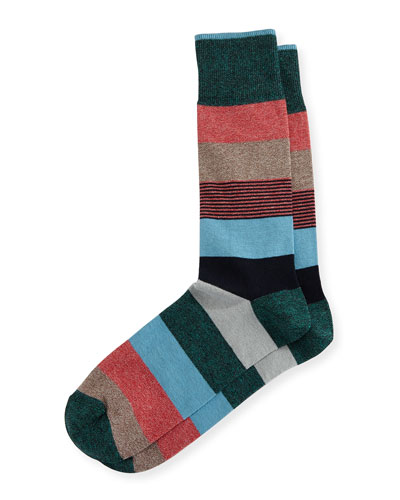 Wide Mixed-Stripe Jaspe Socks