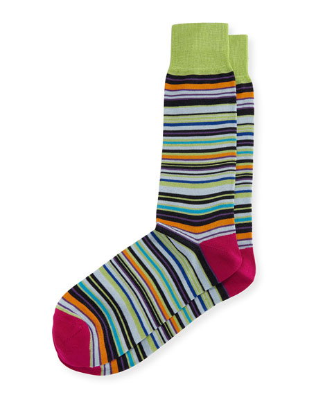Neiman Marcus Mercerized Multi-Stripe Socks