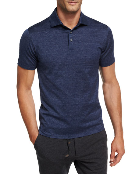 Ermenegildo Zegna Zigzag Melange Cotton Polo Shirt, Dark