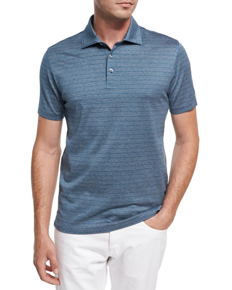 Ermenegildo Zegna Striped Cotton Polo Shirt, Teal/White/Dark Blue