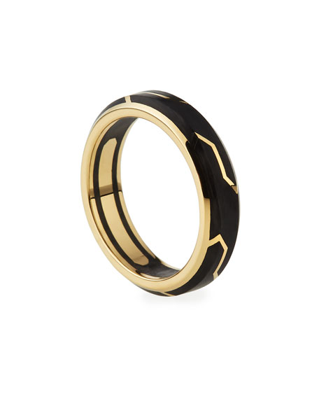 Men's 18K-Gold/Forged Carbon Band Ring