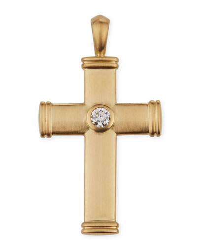Men's Streamline 18k Cross Pendant with Diamond