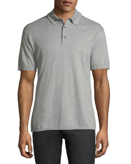 Ermenegildo Zegna Cotton Pique Polo Shirt, Light Gray