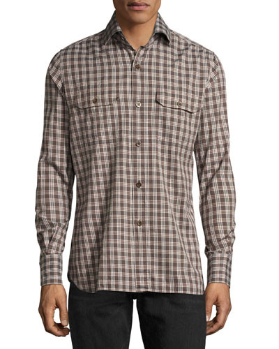 Check Cotton Military Shirt  Brown