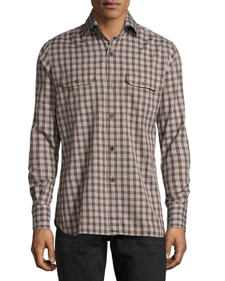 Check Cotton Military Shirt, Brown