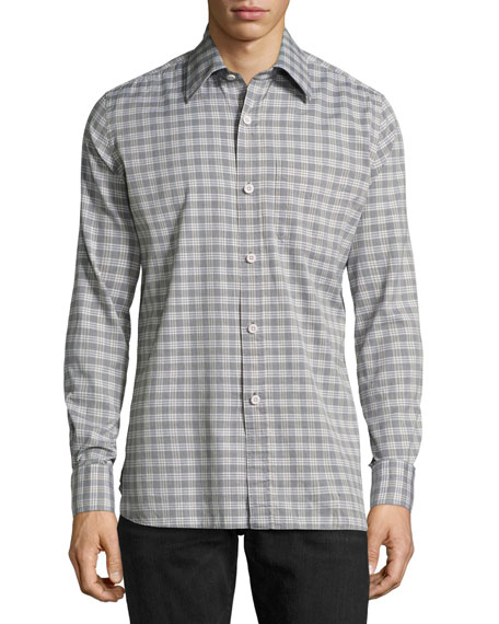 TOM FORD Check Cotton Oxford Shirt, Light Gray