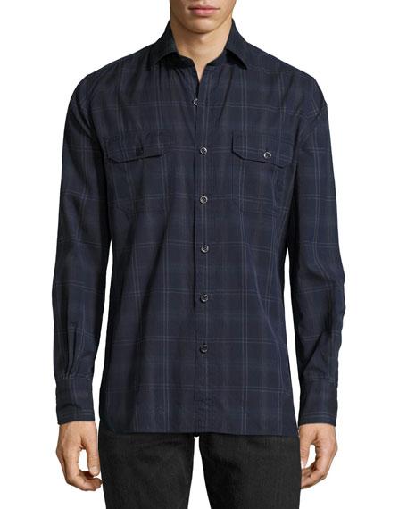 TOM FORD Plaid Cotton Military Shirt, Navy