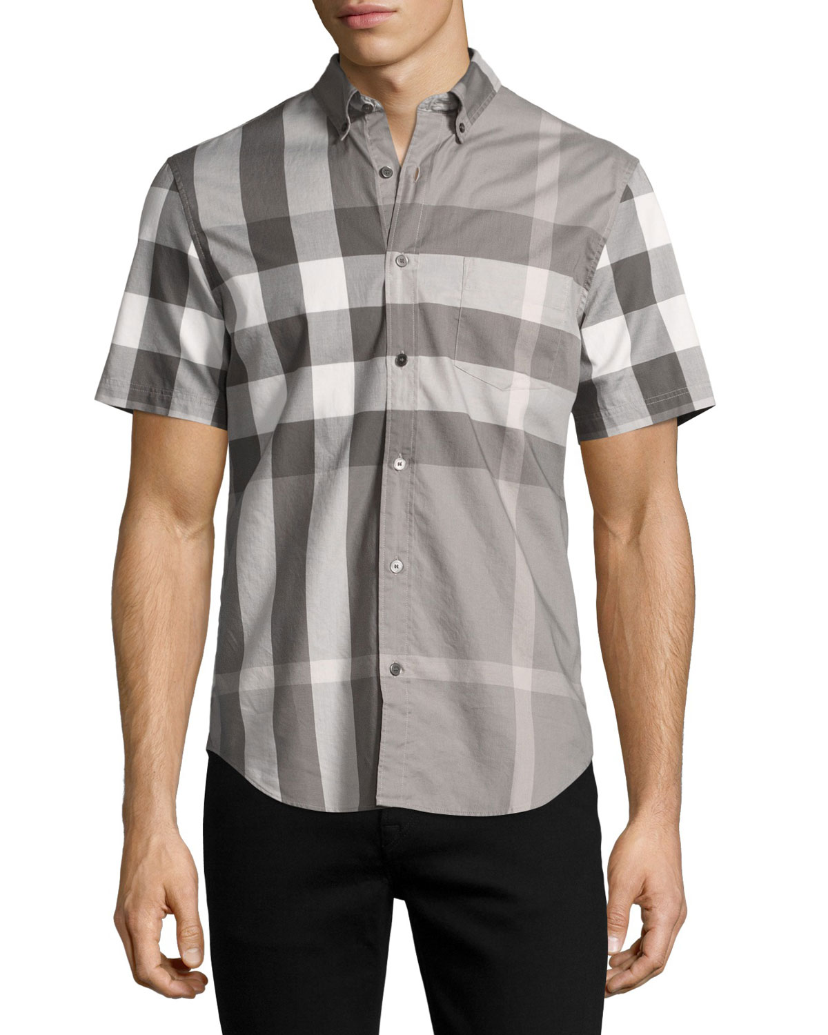 772c60db4 Burberry Fred Check Short-Sleeve Woven Shirt, Pale Gray | Neiman Marcus