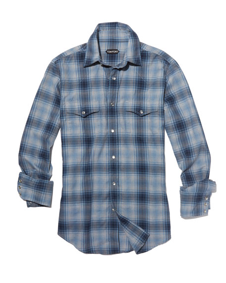 Prince of Wales Plaid Western Shirt