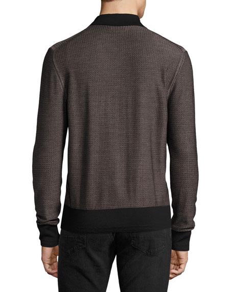 Micro-Texture Long-Sleeve Silk-Merino Wool Polo Shirt