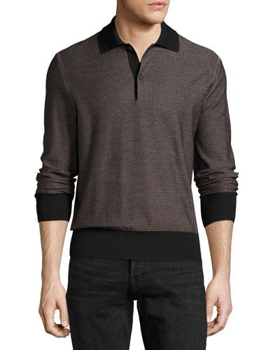 Micro-Texture Long-Sleeve Silk-Merino Wool Polo Shirt