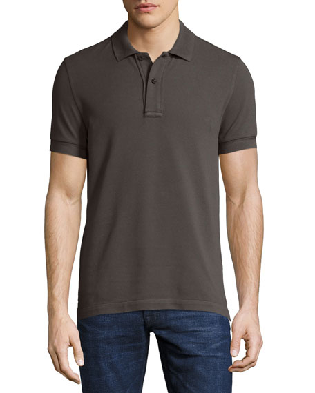 TOM FORD Tennis Pique Polo Shirt, Gray-Green
