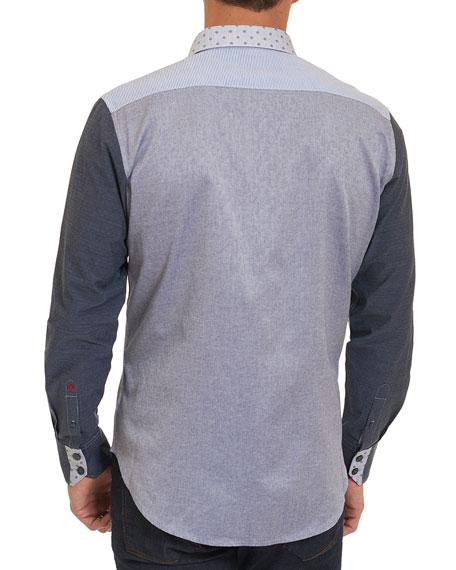 Bergamot Mixed-Media Cotton Shirt, Indigo
