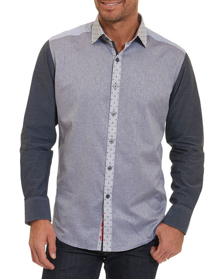 Robert Graham Bergamot Mixed-Media Cotton Shirt, Indigo