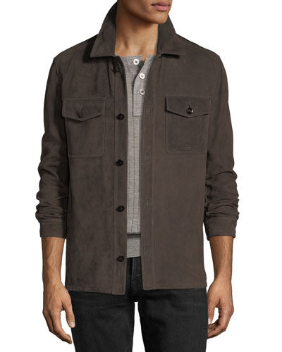 Lightweight Suede Shirt Jacket