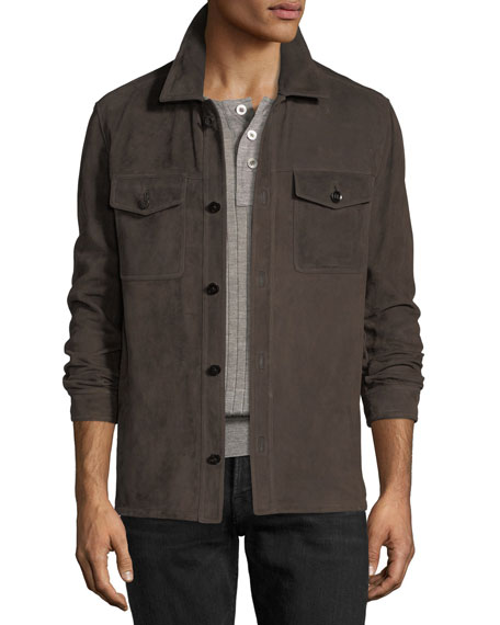 TOM FORD Lightweight Suede Shirt Jacket | Neiman Marcus