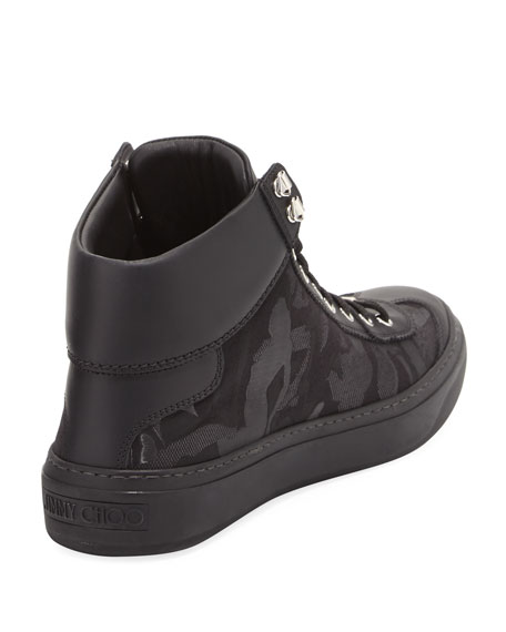 Argyle Men's Camouflage High-Top Sneaker, Black