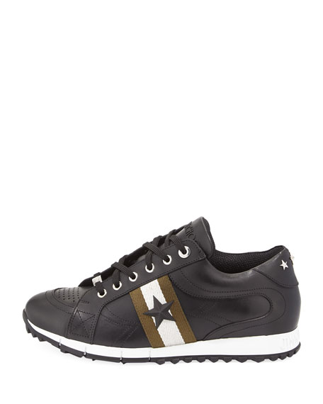 Rafi Men's Star Leather Trainer Sneaker, Black