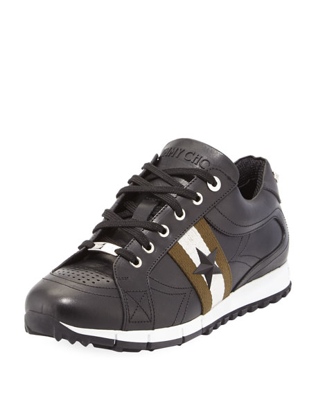 Jimmy Choo Rafi Men's Star Leather Trainer Sneaker,