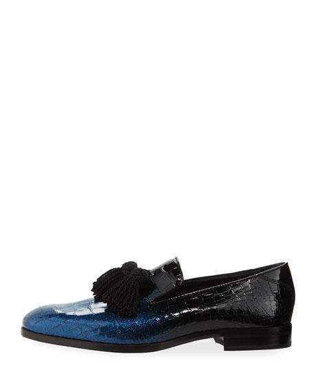 Foxley Dégradé Crackle Leather Tassel Loafer, Black