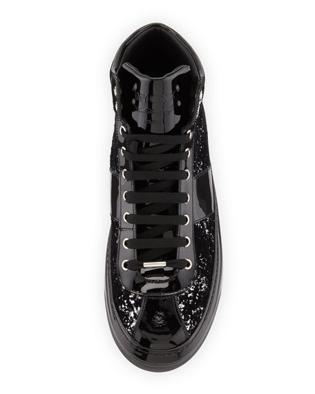 Belgravia Men's Glitter High-Top Sneaker, Black/Silver