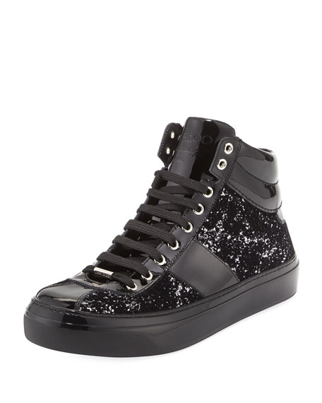 Jimmy Choo Belgravia Men's Glitter High-Top Sneaker, Black/Silver