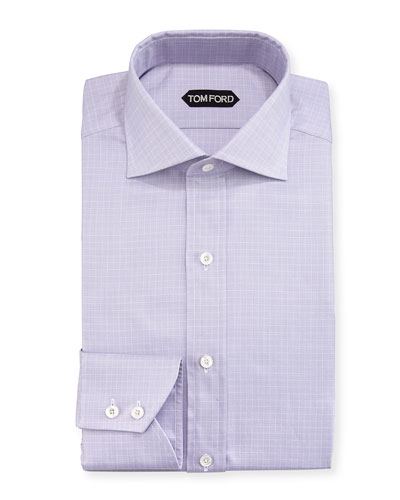 Tattersall Cotton Dress Shirt, Lavender/White