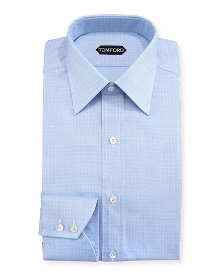 Tattersall Cotton Dress Shirt, Blue