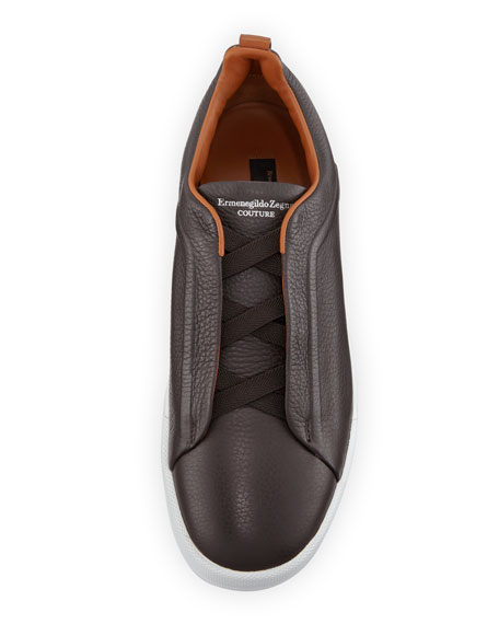 Men's Couture Triple-Stitch Leather Low-Top Sneakers, Espresso