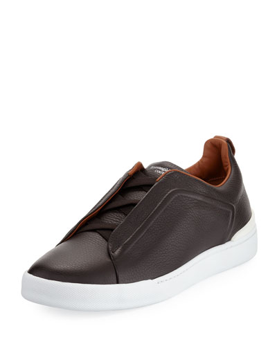 Couture Triple-Stitch Leather Low-Top Sneaker, Espresso
