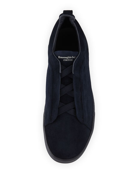 Men's Couture Triple-Stitch Suede Low-Top Sneakers, Navy