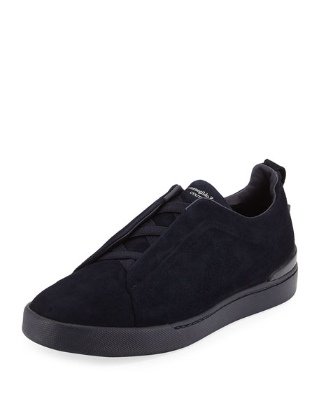 Ermenegildo Zegna Couture Triple-Stitch Suede Low-Top Sneaker,