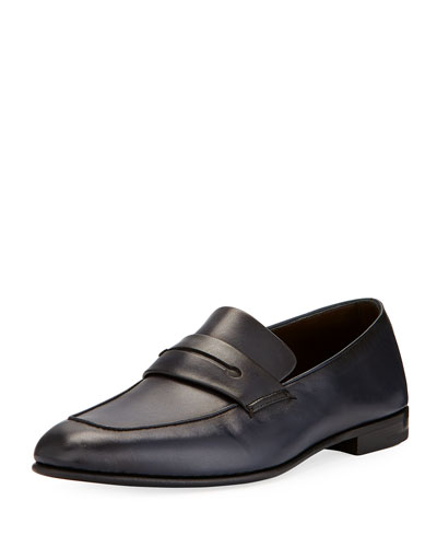 Asola Napa Leather Penny Loafer, Navy