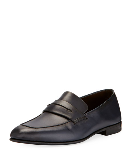Ermenegildo Zegna Asola Napa Leather Penny Loafer, Navy