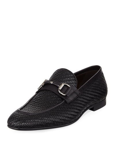 Highway Pelle Tessuta Bit-Strap Loafer, Black