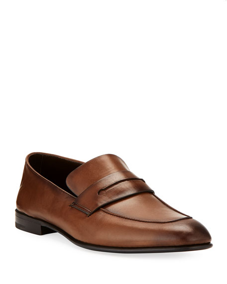 Ermenegildo Zegna Asola Napa Leather Penny Loafer, Light