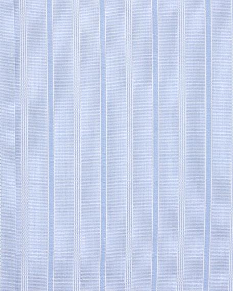 Wide Track-Stripe Cotton Dress Shirt, Blue