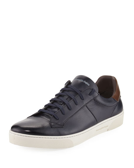 Ermenegildo Zegna Vittorio Men's Leather Low-Top Sneaker, Navy