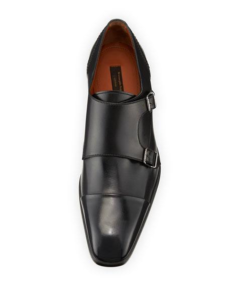 Milano Double-Monk Leather Shoe, Black