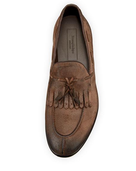 Il Moccasino Suede Fringe Loafer, Saddle
